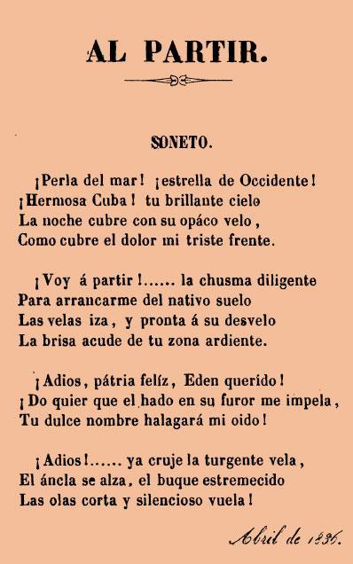 «AL PARTIR»Primera composición poética, conocida, escrita...