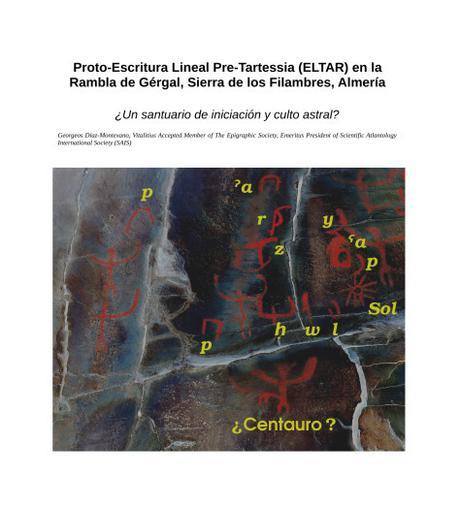 Proto-Escritura Lineal Pre-Tartessia (ELTAR) en la Rambla de Gérgal, Sierra de los Filambres, Almería.