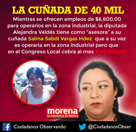 Cuñada de Diputada cobra 40 mil pesos en el Congreso del Estado