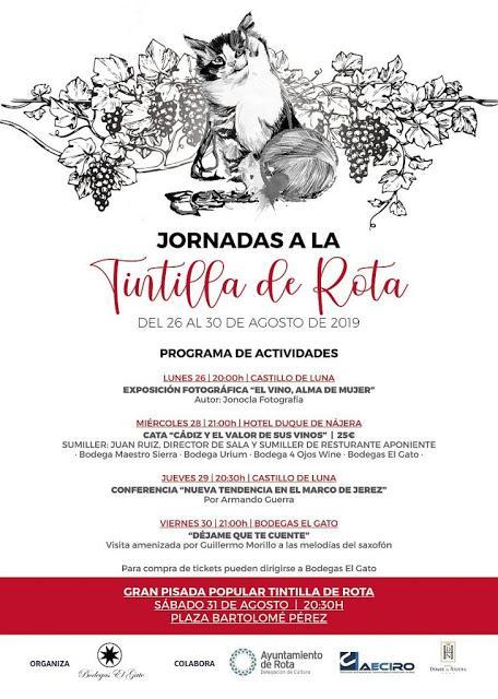 XI JORNADAS TINTILLA DE ROTA 2019: 26-31 de agosto de 2019 en Rota