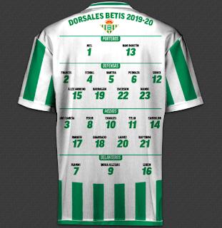 Todos los dorsales de la liga 2019/20