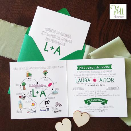 Invitación de boda ilustrada