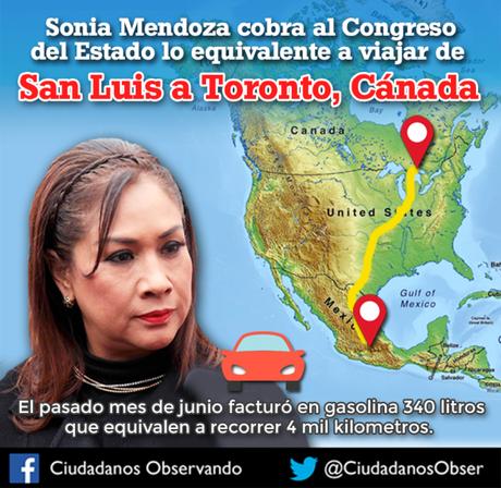 Sonia Mendoza facturo 6 mil pesos en gasolina con cargo al erario público