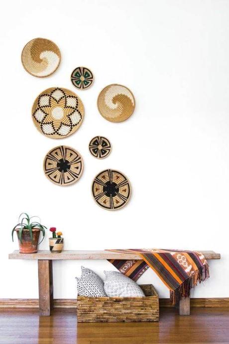 decoración con cestas artesanales