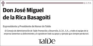 Último adios a José Miguel de la Rica Basagoiti