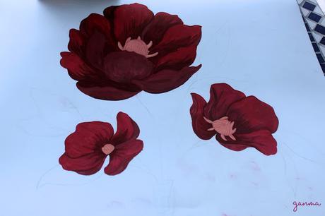 Pintando flores con gouache