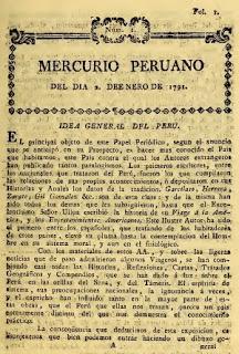 IDEA DEL PERÙ. Feliz iniciativa de dar a conocer EL MERCURIO PERUANO