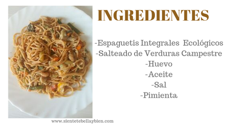 Espaguetis Integrales Ecológicos con Salteado de Verduras Campestres