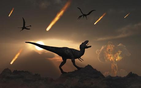 Ilustración que muestra los últimos días de los dinosaurios durante el período del Cretácico. Stocktrek Images / Getty
