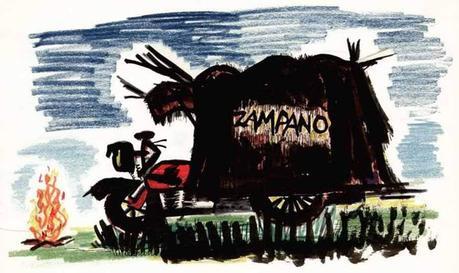 La moto de Zampano dibujada por Federico Fellini.