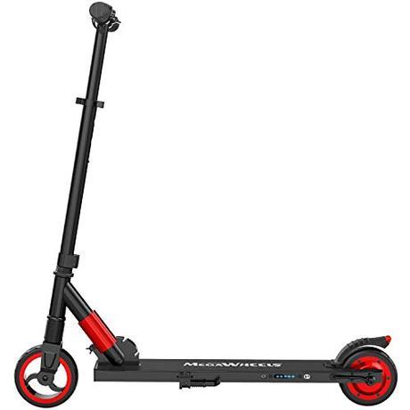 M MEGAWHEELS Scooter electrico, Patinete electrico es Ajustable la Altura para los Adolescentes y los Adultos.(Rojo)