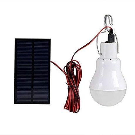 Amazingdeal365 Bombilla de LED solar portátil solar bombilla lámpara foco con 0,8 W Panel Solar para al aire libre senderismo Cámping