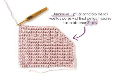 Cómo tejer  una Chaqueta Kimono de crochet de bebé - Patrón y Tutorial - disminuye 1 punto en cada vuelta al llegar a esta zona hasta obtener 21 puntos.