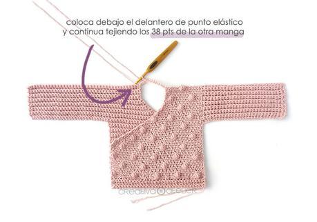 Cómo tejer  una Chaqueta Kimono de crochet de bebé - Patrón y Tutorial - Une las dos piezas delanteras