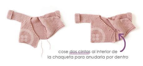 Cómo tejer  una Chaqueta Kimono de crochet de bebé - Patrón y Tutorial - Cose dos cordoncillos interiores