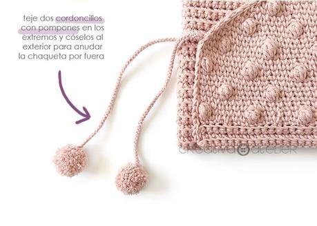 Cómo tejer  una Chaqueta Kimono de crochet de bebé - Patrón y Tutorial - Cose dos cordoncillos exteriores