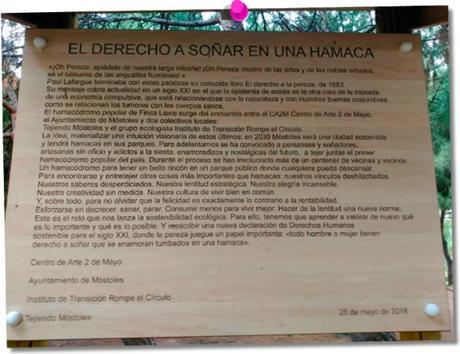 Cartel descriptivo del proyecto del hamacódromo público de Móstoles.
