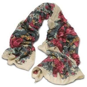 Kenzo Beige Floral Silk Scarf Profile Photo