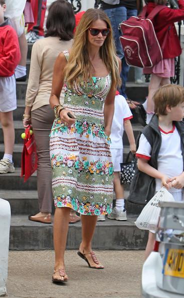 Elle MacPherson Elle Macpherson is seen on the school run in a summer dress.
