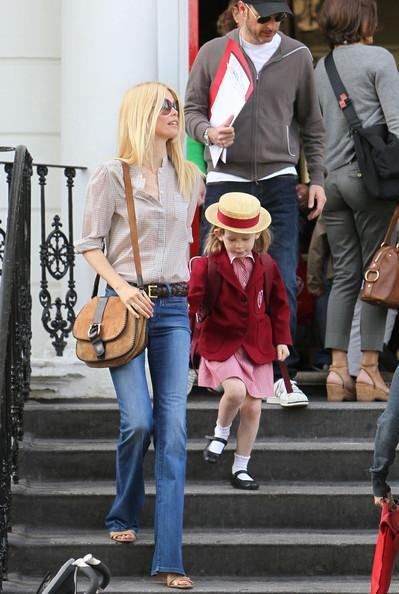 Claudia Schiffer Former supermodel Claudia Schiffer, 40, seen with her daughter Clementine on a school run with her husband Matthew Vaughn in London.