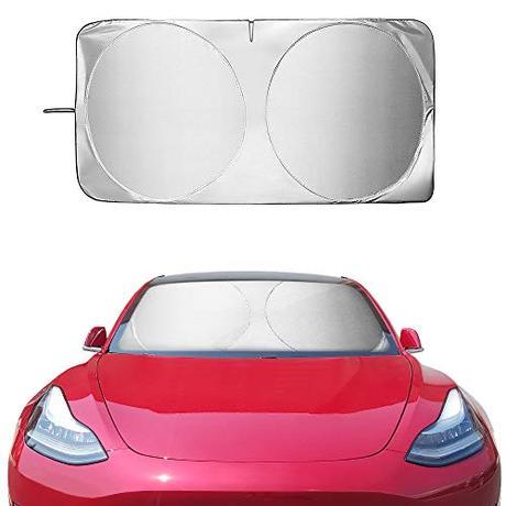 CAR WORK BOX Model 3 Parasol de Coche, Parasol Parabrisas para T-esla Model 3 2018 2019, Bloque de Rayos UV, Mantiene el Vehículo Fresco