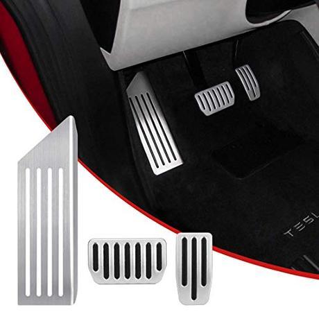 SUPAREE Modelo 3 Almohadillas Antideslizantes para Pedal, Cubiertas de Pedales de Aluminio, Acelerador, Freno y Reposapiés para T-esla Model 3 (un juego de 3)
