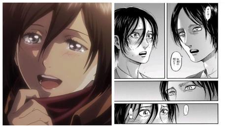 Capitulo 123 del manga ''Shingeki no  Kyojin'': La confesión de Mikasa a Eren