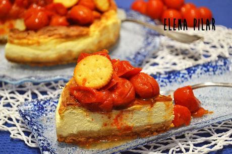 Cheesecake salada con mozzarella y tomatitos asados