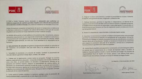 El acuerdo de gobierno PSOE con Unidas Podemos.Quién es quién.