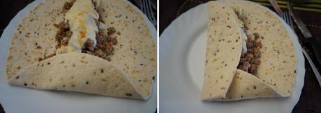 Tortitas de trigo rellenas de carne picada