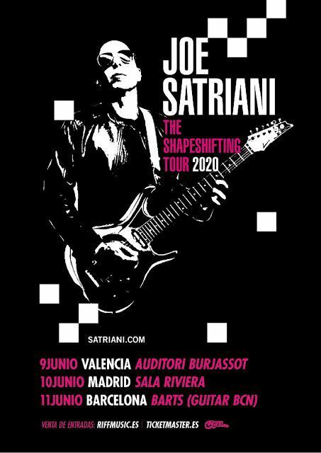 Conciertos de Joe Satriani en Valencia, Madrid y Barcelona en junio de 2020