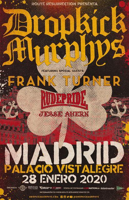 Dropkick Murphys, en el Palacio Vistalegre de Madrid con Frank Turner, Rude Pride y Jesse Ahern