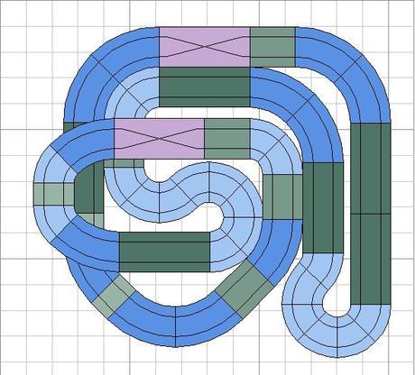 Nº 59. Circuito de rally en dimensiones mínimas 1,39 x 1,29.( y método para fijarla a la pared y recogerla)