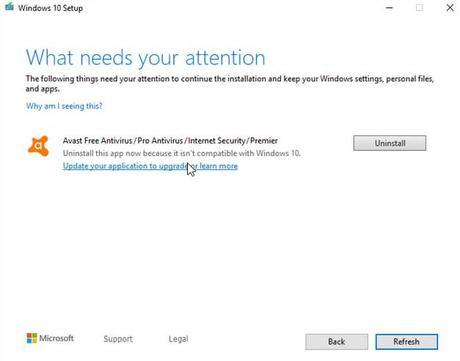 Avast, AVG y controladores WiFi Qualcomm antiguos no permiten actualizar a Windows 10 1909 – Solución