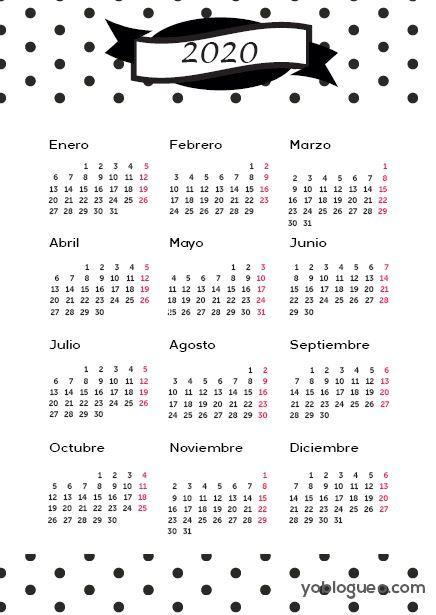 Calendario 2020 gratis en PDF imprimible en varios modelos tamaño folio