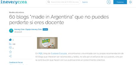 Entre los 60 blogs recomendados de Argentina