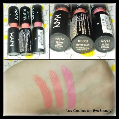 swatches labiales mate nyx maquillaje