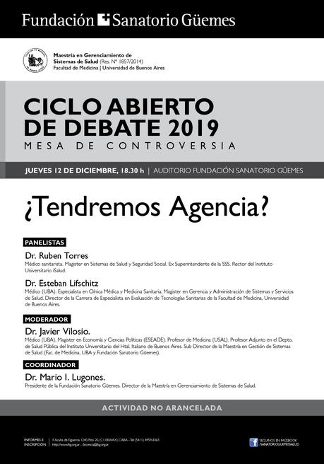 Fundación Sanatorio Güemes - Ciclo abierto de Debates 2019 - ¿Tendremos Agencia?
