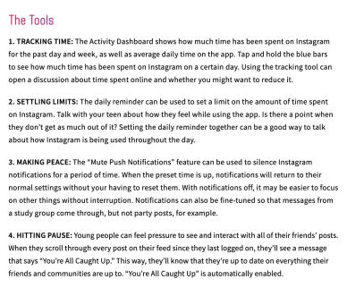 Guías para padres y adolescentes sobre el uso seguro de Instagram
