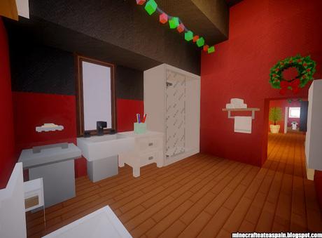 Casa nórdica navideña con interiores por Minecrafteate.