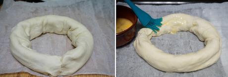 Rosca de hojaldre de jamón y queso