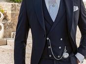 Traje novio chaqué azul marino alpaca corte italiano medida slimfit