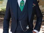 Traje novio chaqué azul marino fil-a-fil pura lana corte italiano medida slimfit