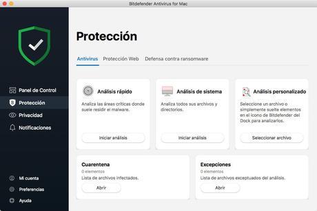 Antivirus Mac panel de protección Bitdefender