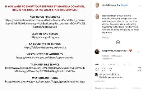 10 famosos que han hecho donaciones para combatir los incendios en Australia.