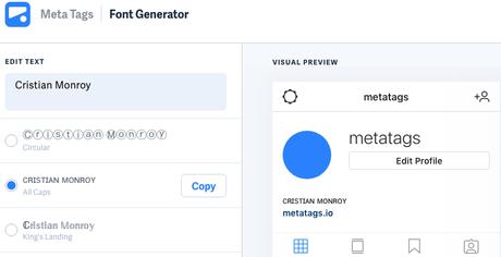 Genera fuentes personalizadas para la biografía de tus perfiles en medios sociales