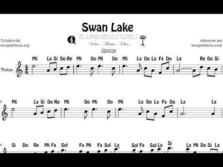 El Lago de los Cisnes Partitura Fácil con Notas Violín Flauta Oboe    Clave de Sol en Do