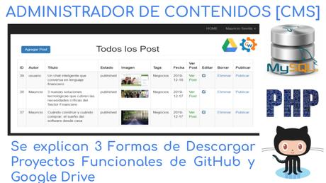 ADMINISTRADOR DE CONTENIDOS [CMS], Se explican 3 Formas de Descargar Proyectos Funcionales de GitHub y Google Drive