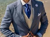 Traje novio azul raya diplomática puro lino corte italiano moderno slimfit
