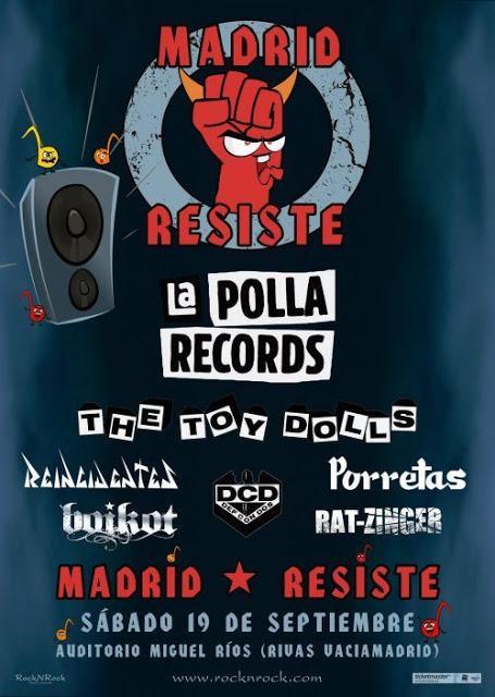 The Toy Dolls se suman a La Polla Records, Reincidentes, Porretas, Boikot, Def Con Dos y Rat-Zinger en Madrid Resiste